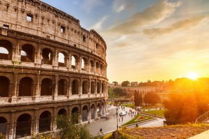 the colloseum of Rome, which played a part in the history of asphalt